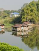 Floating house village in Thailand — Stock Photo