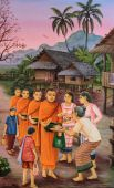 Thai mural painting of the offering food to Buddhist monks at Wa — Stock Photo