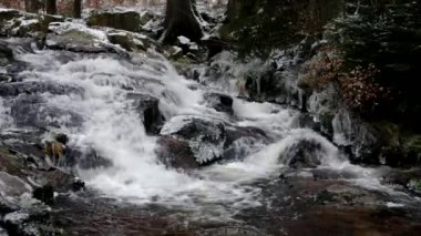 Waterfall river Bode in Winter — Stock Video