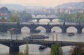 Prague bridges aerial view — Stock Photo
