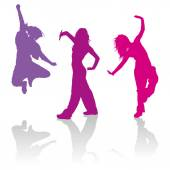 Silhouettes of girls dancing hip hop dance — Stock Vector