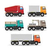 Vector modern creative flat design logistics fleet vehicles set  — Stock Vector
