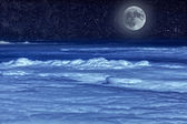 Stellar sky and moon — Stock Photo