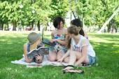 Students having lesson outdoor — Foto de Stock