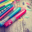 Pins and colorful pens — Stock Photo #57442787