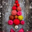 Christmas tree shaped by balls of yarn — Stock Photo #57443099