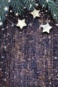 Christmas texture with pine branches and stars — Foto Stock