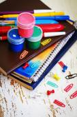 Pins, paint and notebooks — Foto de Stock