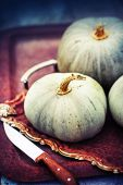 Fall pumpkins on wooden rustic table — Stock Photo