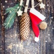 Christmas card with christmas decorations — Stock Photo #57764861