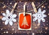Cartão de natal com enfeites — Foto Stock