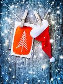 Cartão de natal com enfeites de natal — Foto Stock