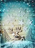 Feliz natal cartão com veado — Fotografia Stock