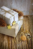Gifts, boxes, christmas decorations — Foto de Stock