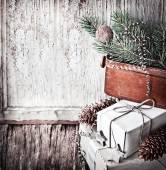Gifts, boxes, christmas decorations — Stock Photo