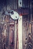 Locked wooden door — Stock Photo