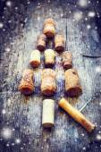 Christmas tree shaped by corks — Stock Photo