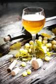 Witte wijn en druiven — Stockfoto
