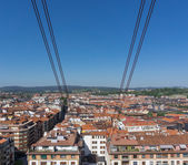 View of roofs from Getxo from Bizkaia suspension bridge — Stock Photo