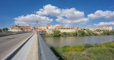 Tordesillas, a town in Spain with Duero River and bridge — Stock Photo
