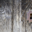Front view of old lock and wooden door — Stock Photo #56947389