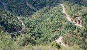 Top view of ascending mountain road with curves — Stock Photo