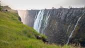 Victoria Falls sunset, Zambia side with zambezi river — Stock Photo