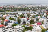 Reykjavik houses aerial view and lake, Iceland — Stock Photo