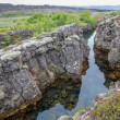 National Park of Thingvellir in Iceland, water and rocks — Stock Photo #63454089
