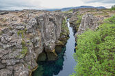 National Park of Thingvellir in Iceland, water and rocks — Stock Photo