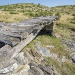 Top of bridge with wood beams and stones, dried up stream — Stock Photo #64423669