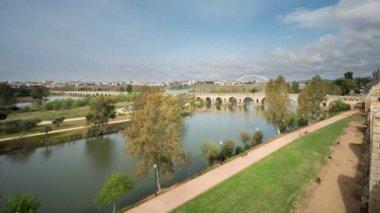Merida Roman Bridge from Alcazaba, Time Lapse — Stock Video
