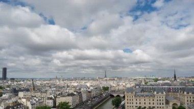 Paris skyline with Eiffel Tower in Paris, Time Lapse — Stock Video