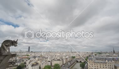 Paris skyline with gargoyle, Eiffel Tower, Paris, 4k Time Lapse — Stock Video