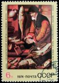 Fishmonger Stamp — Stock Photo