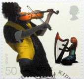 Fiddler and Harpist — Stock Photo