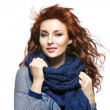 Woman with knitted wool scarf — Stock Photo #63235167
