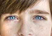 Insightful look blue eyes boy — Stock Photo