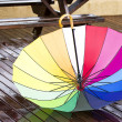 Colorful umbrella outdoors at autumn rainy day — Stock Photo #64992733