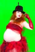 Fun portrait of beautiful pregnant woman — Stock Photo