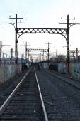 Electric Lines on Railroad — Stock Photo