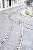 Tram tracks on a street in Lisbon — Stock Photo