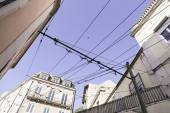 Streets of Lisbon typical cable tram — Stockfoto