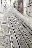 Tram tracks in the city — Stock Photo