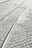 Tramrails in de stad — Stockfoto