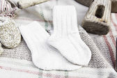 Wool socks handmade — Stock Photo