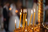 Candles in christian church — Stock Photo