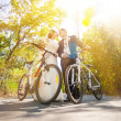 Newly married couple with bicycles — Stock Photo #66052375