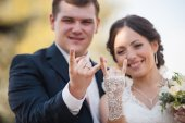 Wedding  couple  gesture rock sign — Stock Photo