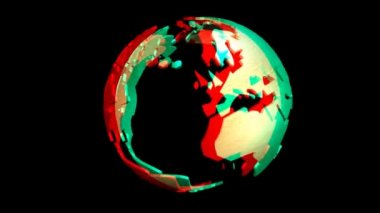 Animation of a rotating Earth Globe, stereoscopic — Stock Video